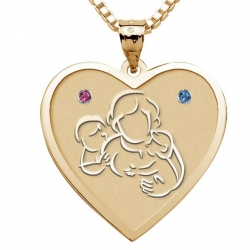 Mother with Son and Daughter Heart Pendant w  Birthstones