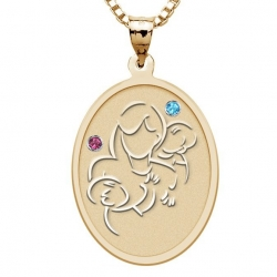 Mother with Two Sons   Oval Pendant with Birthstones