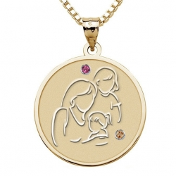 Mother with Two Daughters   Round Pendant Birthstone
