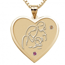 Mother with Two Daughters   Heart Pendant with Birthstones