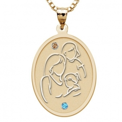 Mother with Two Daughters   Oval Pendant with Birthstones