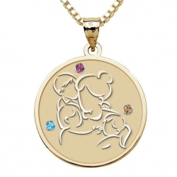 Mother with Son and 2 Daughters Round Pendant w   Birthstones