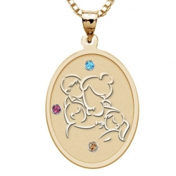 Mother with Son and 2 Daughters Oval Pendant with Birthstones
