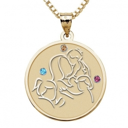 Mother with Three Daughters   Round Pendant with Birthstones