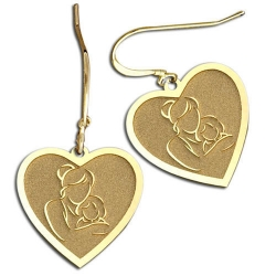 Mother and Daughter Heart Shaped Earrings  w  Kidney Wire