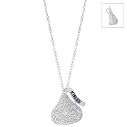 14K White Gold Hershey s Kiss Flat Back Pendant w Diamonds   Chain