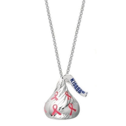 Sterling Silver Hershey s Kiss  Breast Cancer 3D Pendant with Chain