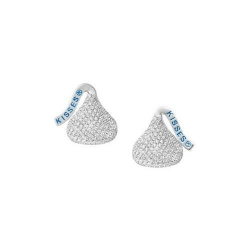 14K White Gold Hershey s Kiss Flat Back with Diamonds Stud Earrings