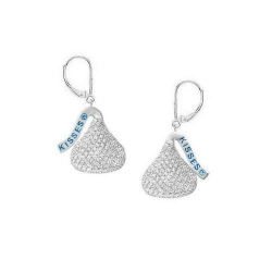 14K White Gold Hershey s Kiss Flat Back w  Diamonds Leverback Earrings