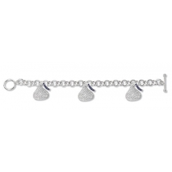14K White Gold Hershey s Kiss Bracelet w  Three Diamond Kiss Charms