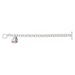 Sterling Silver Hershey s Kiss Breast Cancer Bracelet w  1 Kiss Charm