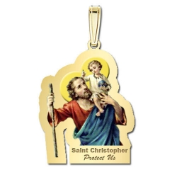 Saint Christopher Outlined Medal   Color EXCLUSIVE