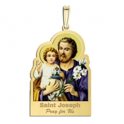 Saint Joseph Outlined Medal  Color EXCLUSIVE