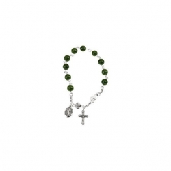 Sterling Silver Dark China Jade Round Rosary Bracelet