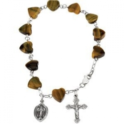 Sterling Silver Tiger Eye Heart Rosary Bracelet