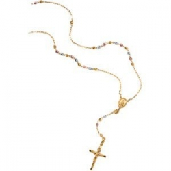 TRICOLOR ROSARY NECKLACE