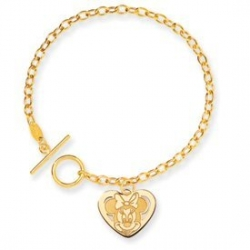 14K Yellow Gold Disney 7 5inch Minnie Mouse Heart Charm Bracelet