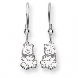 Sterling Silver Disney Winnie the Pooh Shepherd Hook Earrings