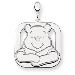 Sterling Silver Winnie the Pooh Large Lobster Clasp Two Layer Charm