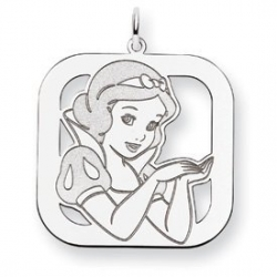 Sterling Silver Snow White Square Charm