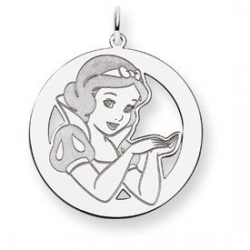 Sterling Silver Snow White Round Charm