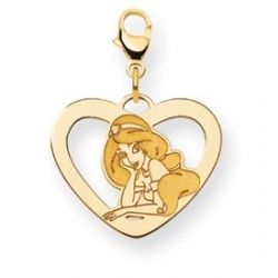 Disney Princess Jasmine Lobster Clasp Heart Charm