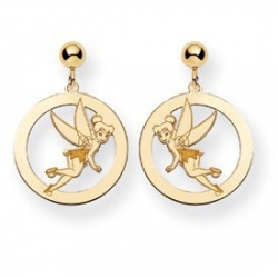 Disney Tinker Bell Dangle Post Round Earrings