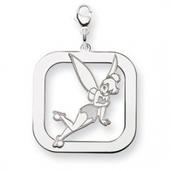 Sterling Silver Tinker Bell Two Layer Lobster Clasp Square Charm