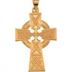 14K Yellow Gold LARGE CELTIC CROSS PENDANT