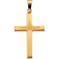 14K YELLOW GOLD SUNRISE CROSS PENDANT