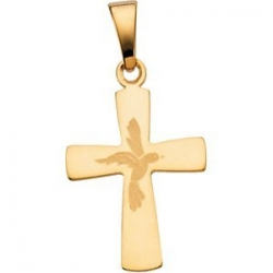 14K Yellow Gold CROSS PENDANT W  HOLY SPIRIT DESIGN