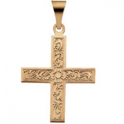 14K Yellow Gold GREEK CROSS PENDANT W ORNATE DESIGN