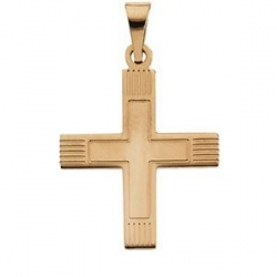 14K YELLOW GOLD GREEK CROSS PENDANT W LINES