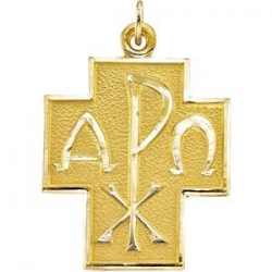 14K Yellow Gold ALPHA   OMEGA CROSS