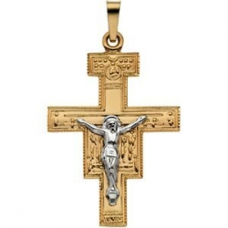 14K TWO TONE GOLD SAN DAMIANO CROSS PENDANT