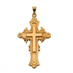 14K YELLOW GOLD LARGE FANCY CROSS PENDANT
