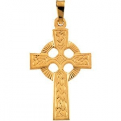 14K Yellow Gold FANCY CELTIC CROSS PENDANT