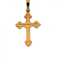 14K White Gold FANCY CROSS PENDANT