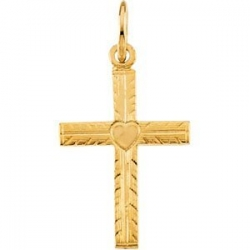 14K YELLOW GOLD CHILD S CROSS PENDANT W HEART