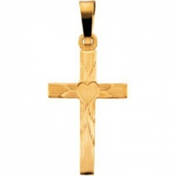 14K YELLOW GOLD CROSS PENDANT W HEART