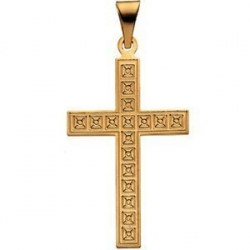 14K Yellow Gold CROSS PENDANT W DESIGN