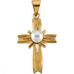 14K Yellow Gold CROSS W PEARL PENDANT