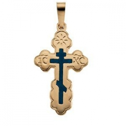 14K YELLOW GOLD ORTHODOX CROSS PENDANT W BLUE INLAY