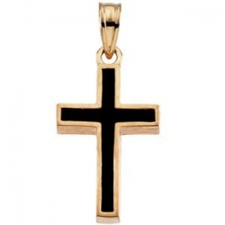 14K Yellow Gold CROSS W BLACK EPOXY