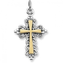 Sterling Silver CROSS PENDANT w  Gold Plating