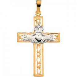 14K TWO TONE GOLD CLADDAGH CROSS PENDANT