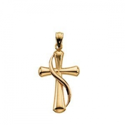 14KY ROSE CROSS PENDANT WITH SHROUD