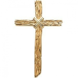 14k Yellow Gold Wooden Texture Cross Pendant