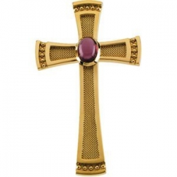 GENUINE GARNET RHODOLITE 14K YELLOW GOLD CAB CROSS