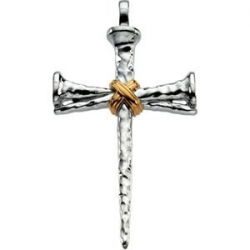 14K Two Tone Gold CROSS NAILS PENDANT